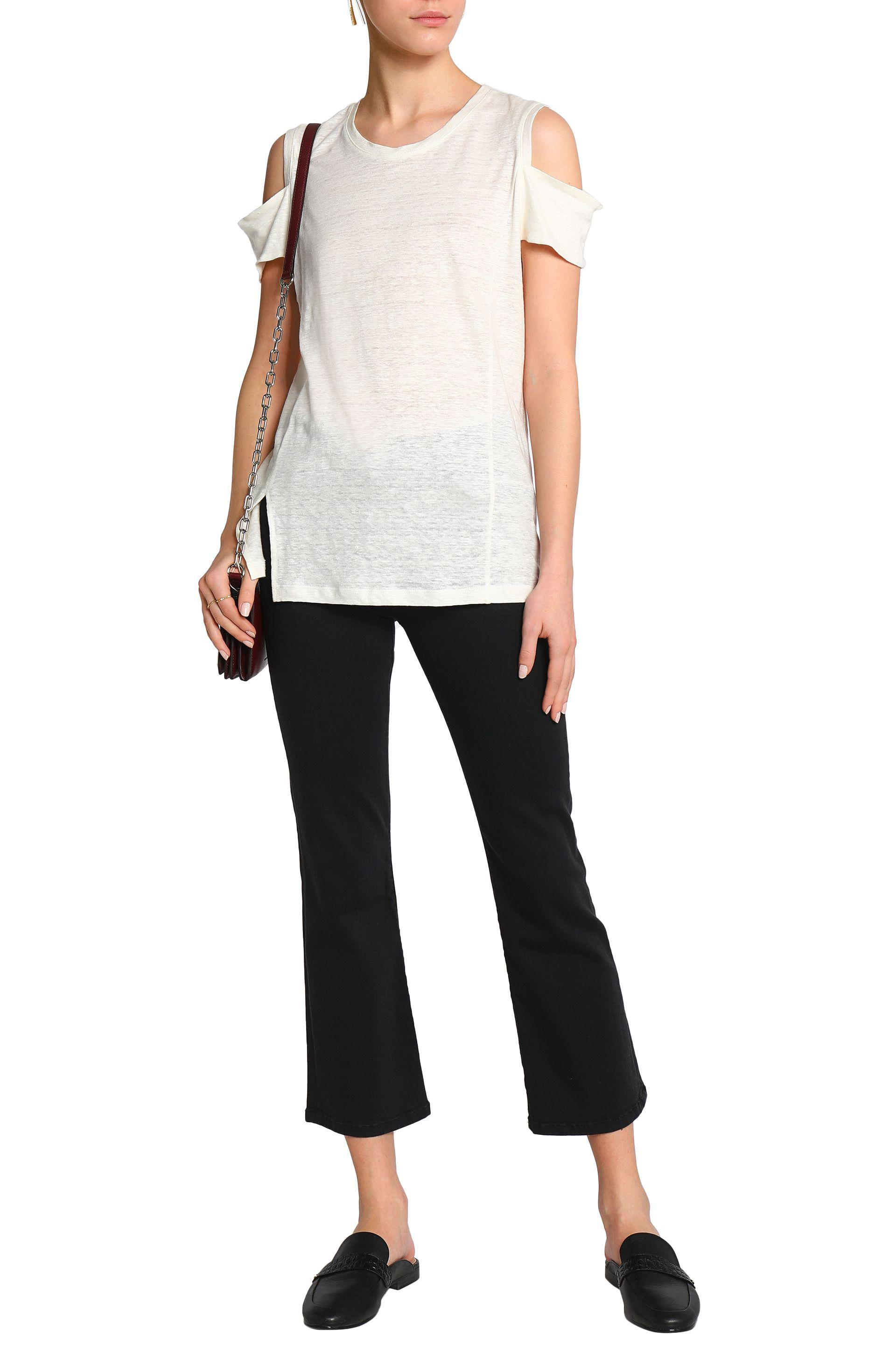 Halston Heritage Woman Cold-shoulder Slub Linen-jersey Top Ivory Size XL Halston Heritage Cheap For Sale Free Shipping Deals With Mastercard Cheap Online Buy Cheap Websites Low Price Fee Shipping For Sale 9yMscgSrLm
