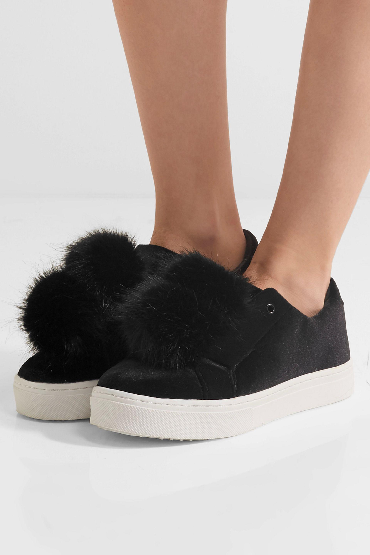 2e40d892b Lyst - Sam Edelman Leya Faux Fur-embellished Velvet Slip-on Sneakers ...