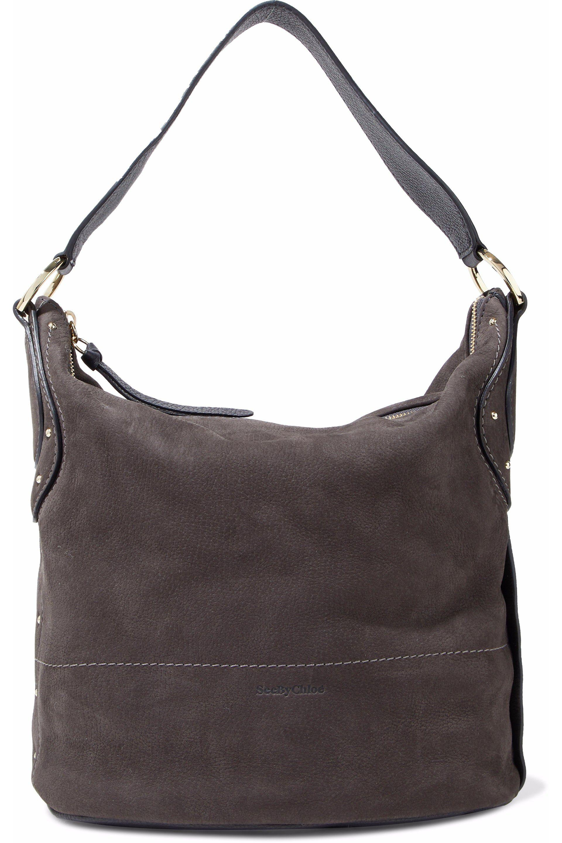 869b54a437cf Lyst - See By Chloé Janis Large Nubuck Shoulder Bag Dark Gray in Gray