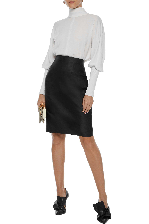 c147de7536db76 Carolina Herrera - Black Duchesse-satin Pencil Skirt - Lyst. View fullscreen