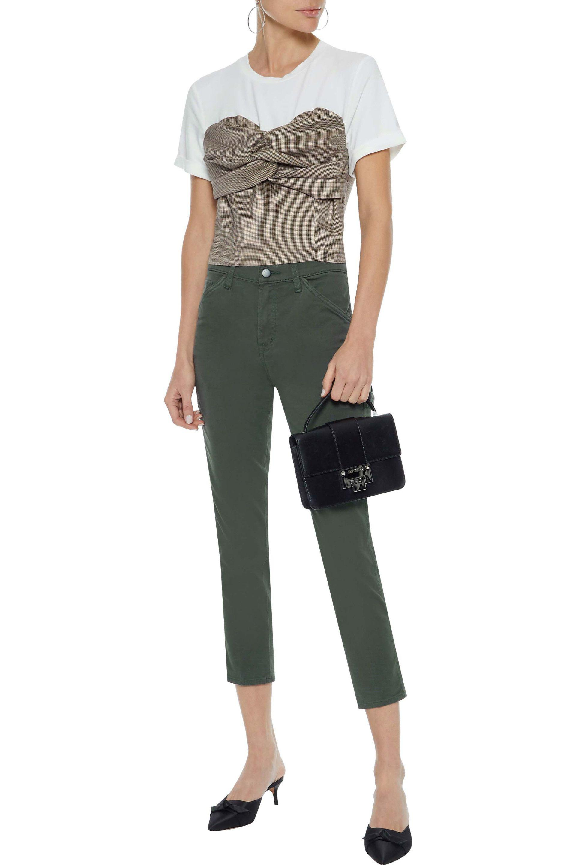 a3a57c272bed J Brand - Green Ruby Painter Cropped Cotton-blend Twill Slim-leg Pants -.  View fullscreen