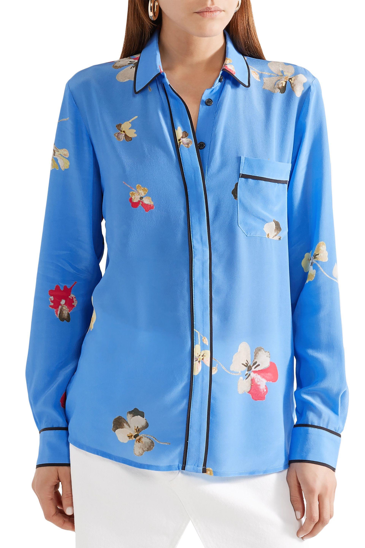 c14744f2 Ganni - Blue Woman Joycedale Floral-print Silk Crepe De Chine Shirt Azure -  Lyst. View fullscreen