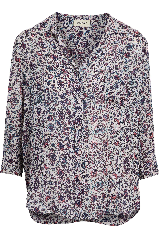 Lagence Woman Printed Silk Crepe De Chine Shirt Navy Size L L'agence Shop For Cheap Online 564XfIw2gr