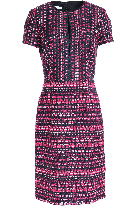 Oscar De La Renta Woman Fluted Neon Silk Dress Fuchsia Size 2 Oscar De La Renta sO9xP