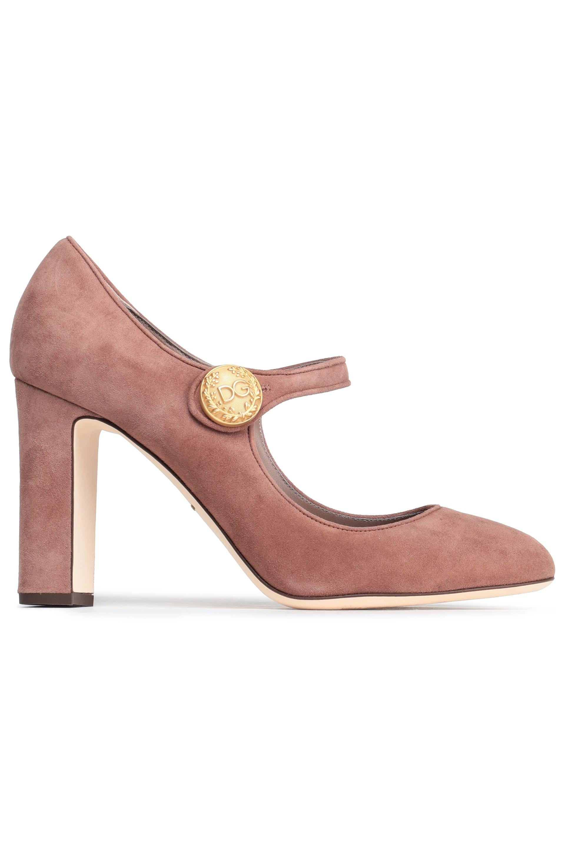 395eab27f0e9b Dolce & Gabbana Button-embellished Suede Mary Jane Pumps Antique ...