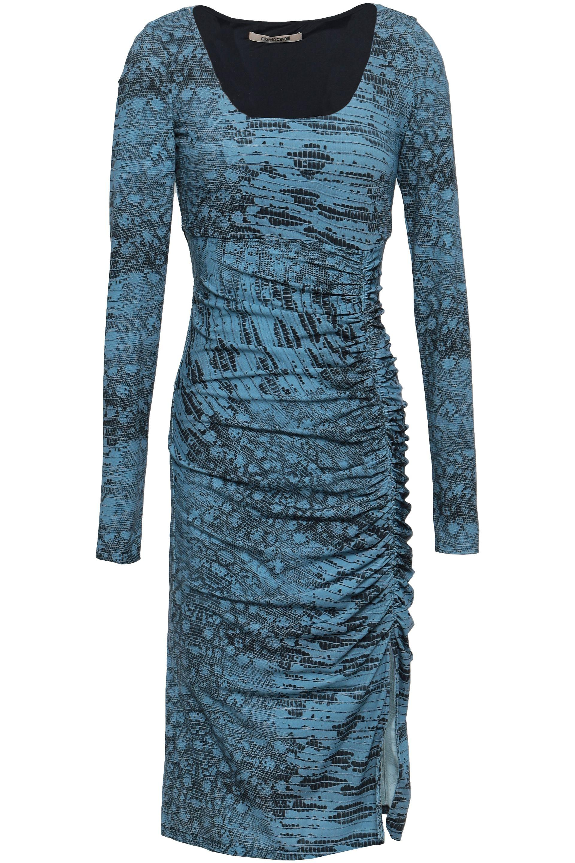 8484d4b565 Lyst - Roberto Cavalli Woman Ruched Animal-print Stretch-jersey ...
