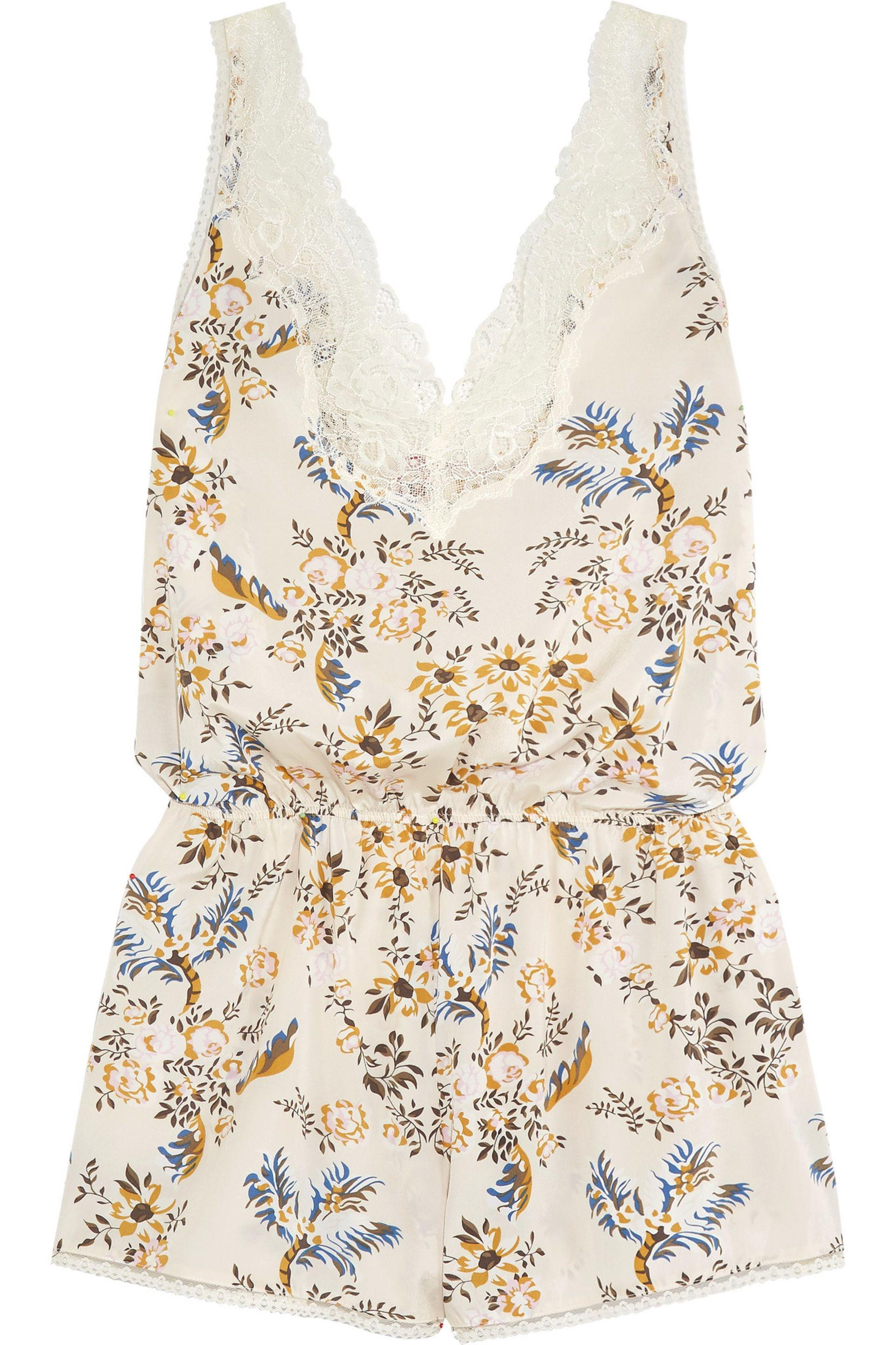 Lyst - Stella Mccartney Poppy Snoozing Lace-trimmed Floral-print ... 89eb0794e