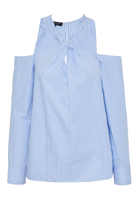 5ff7906da715f8 Lyst - Rag   Bone Cold-shoulder Twisted Striped Cotton-poplin Top in ...