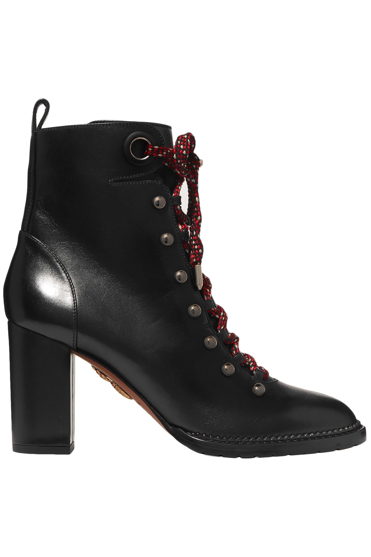 039d7dc8f977d Aquazzura. Women s Woman Hiker Lace-up Studded Leather Ankle Boots Black
