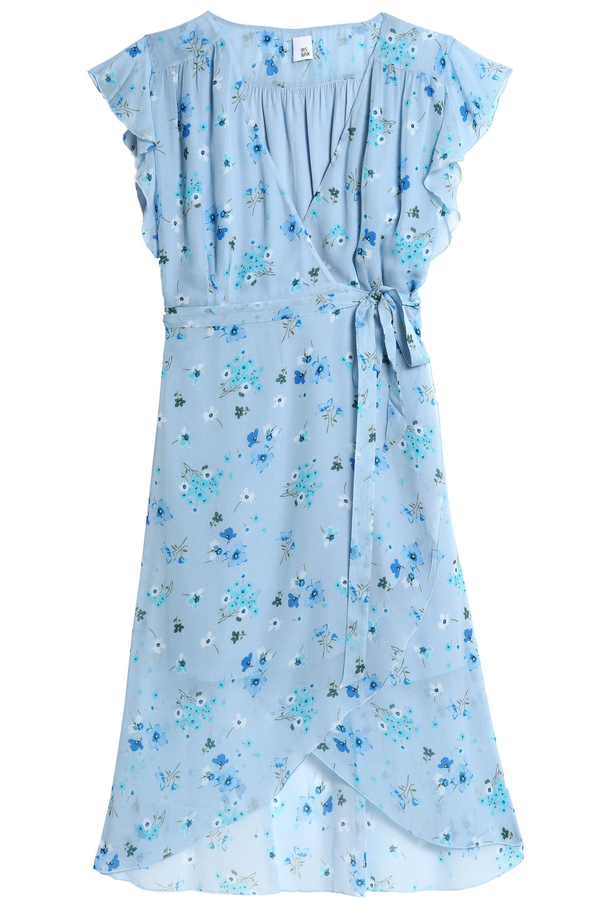 Iris & Ink Woman Moe Wrap-effect Floral-print Chiffon Dress Light Blue Size 4 IRIS & INK Choice For Sale Free Shipping Enjoy OPI2zfo