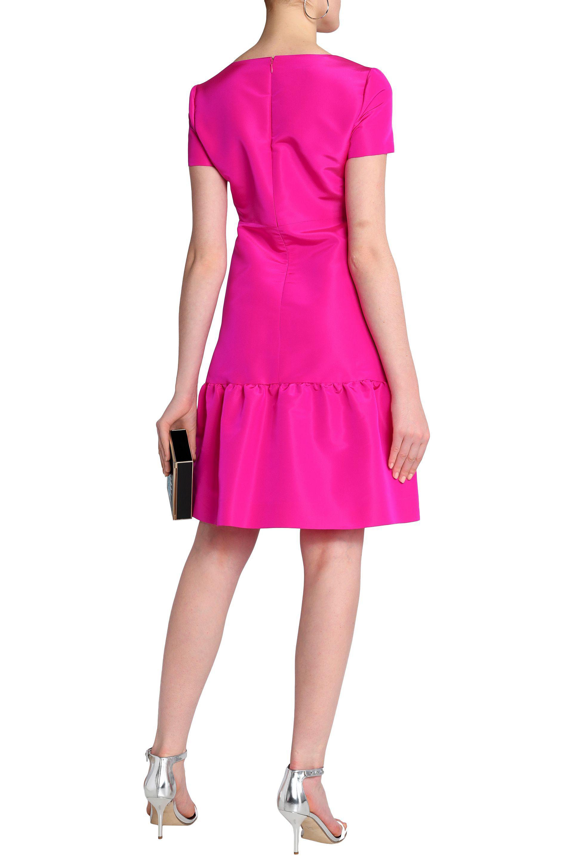 Oscar De La Renta Woman Ruched Neon Silk-satin Maxi Dress Magenta Size 4 Oscar De La Renta Cheapest Cheap Online NPP7iO