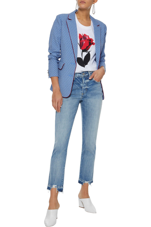 0025f5b42bf Lyst - AMO Woman Babe Distressed Mid-rise Slim-leg Jeans Mid Denim ...