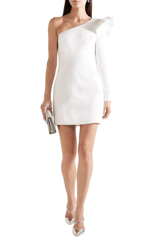 94ee36d3668 Rachel Zoe - Woman One-shoulder Ruffled Crepe Mini Dress White - Lyst. View  fullscreen
