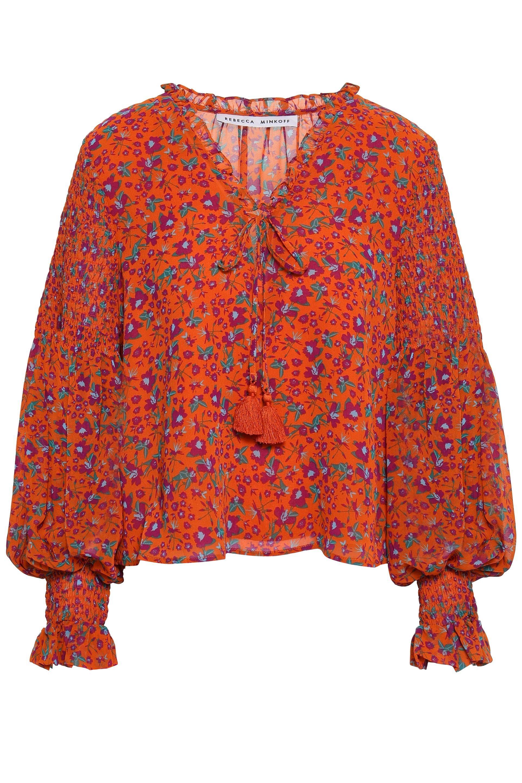 dd5308873cac2c ... Woman Penelope Shirred Floral-print Gauze Blouse Bright Orange - Lyst.  View fullscreen