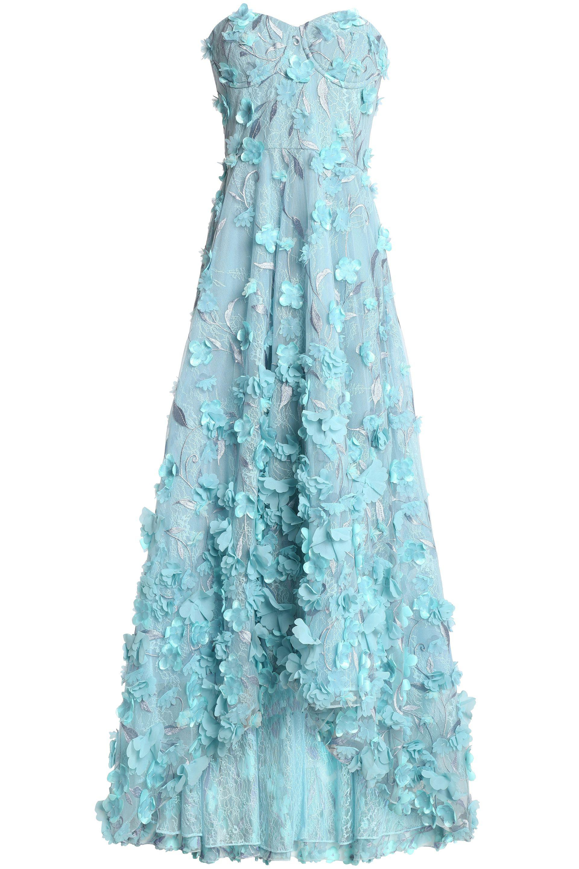 5eb636136290a Marchesa notte Strapless Floral-appliquéd Embroidered Tulle Midi ...