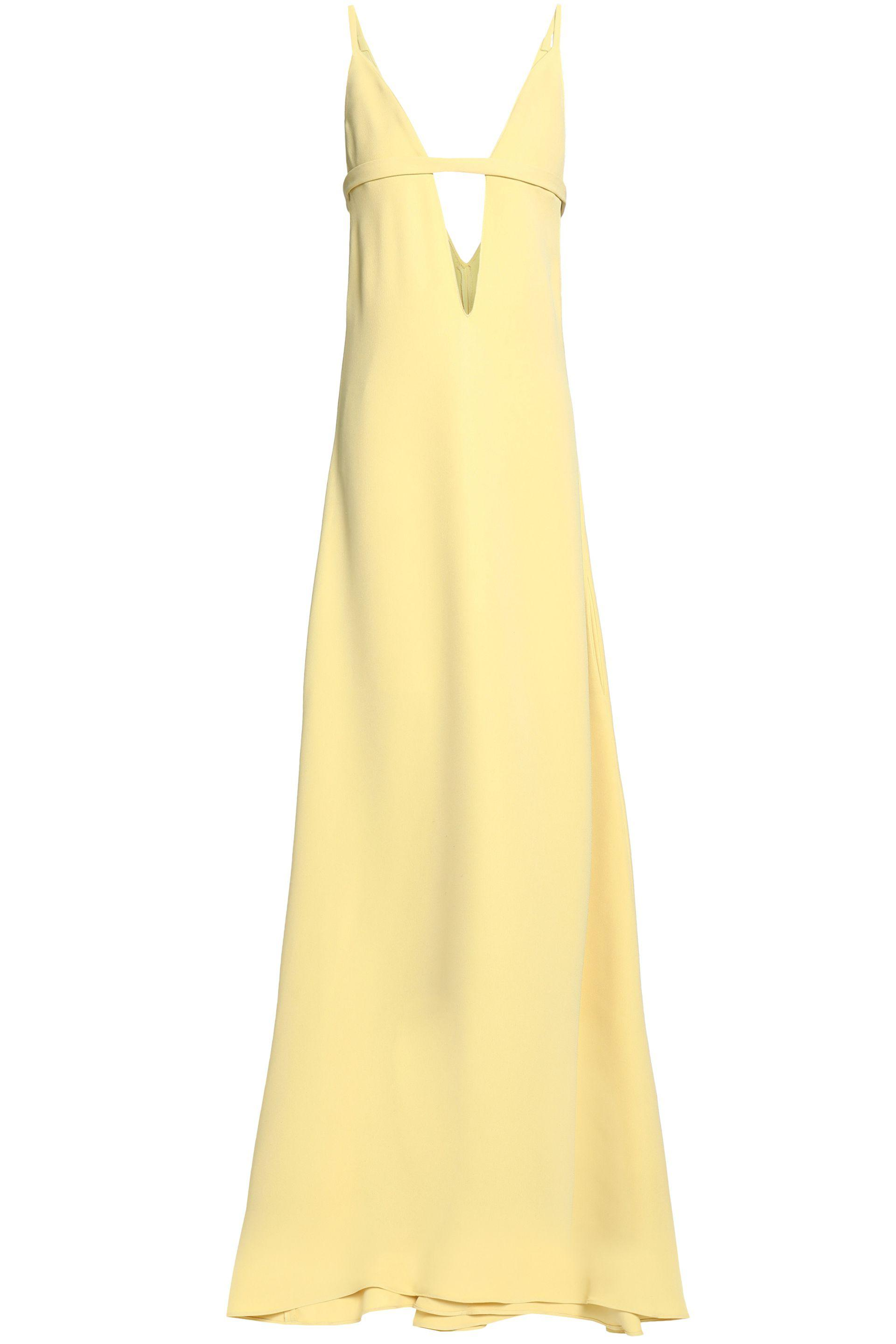 Valentino. Women's Bow-detailed Cutout Silk-crepe Gown Pastel Yellow