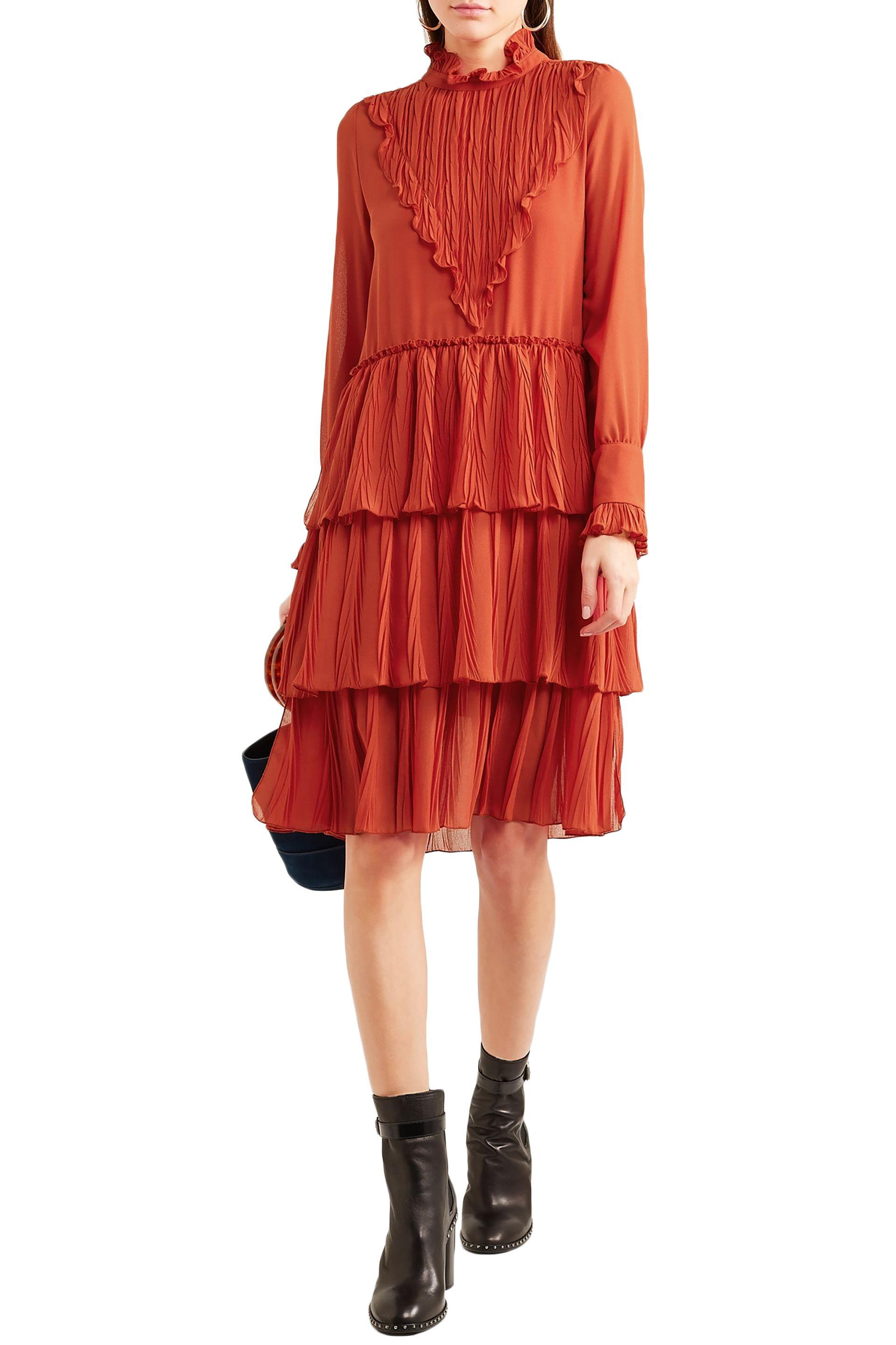 006fc8985f Lyst - See By Chloé See By Chloé Woman Tiered Ruffled Chiffon Dress ...