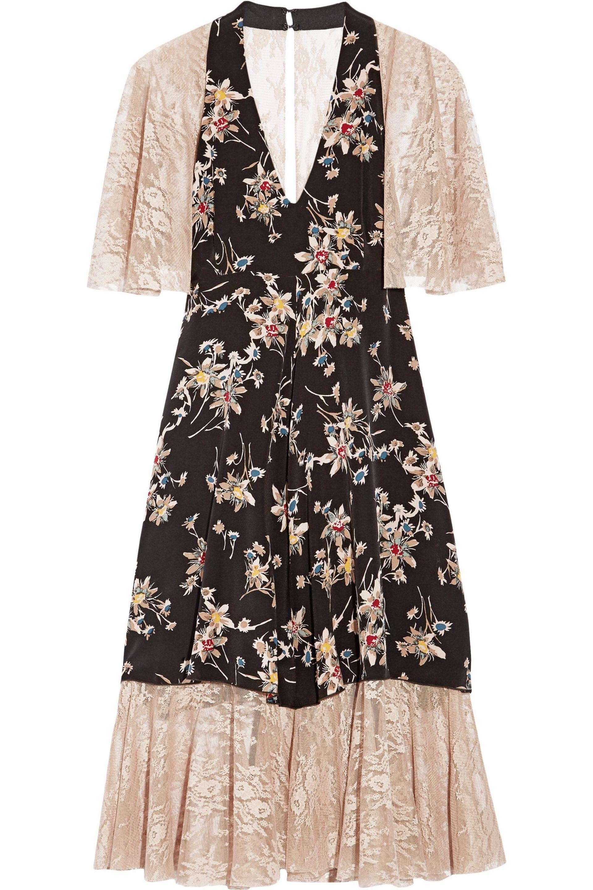 Anna sui printed crepe de chine and lace dress