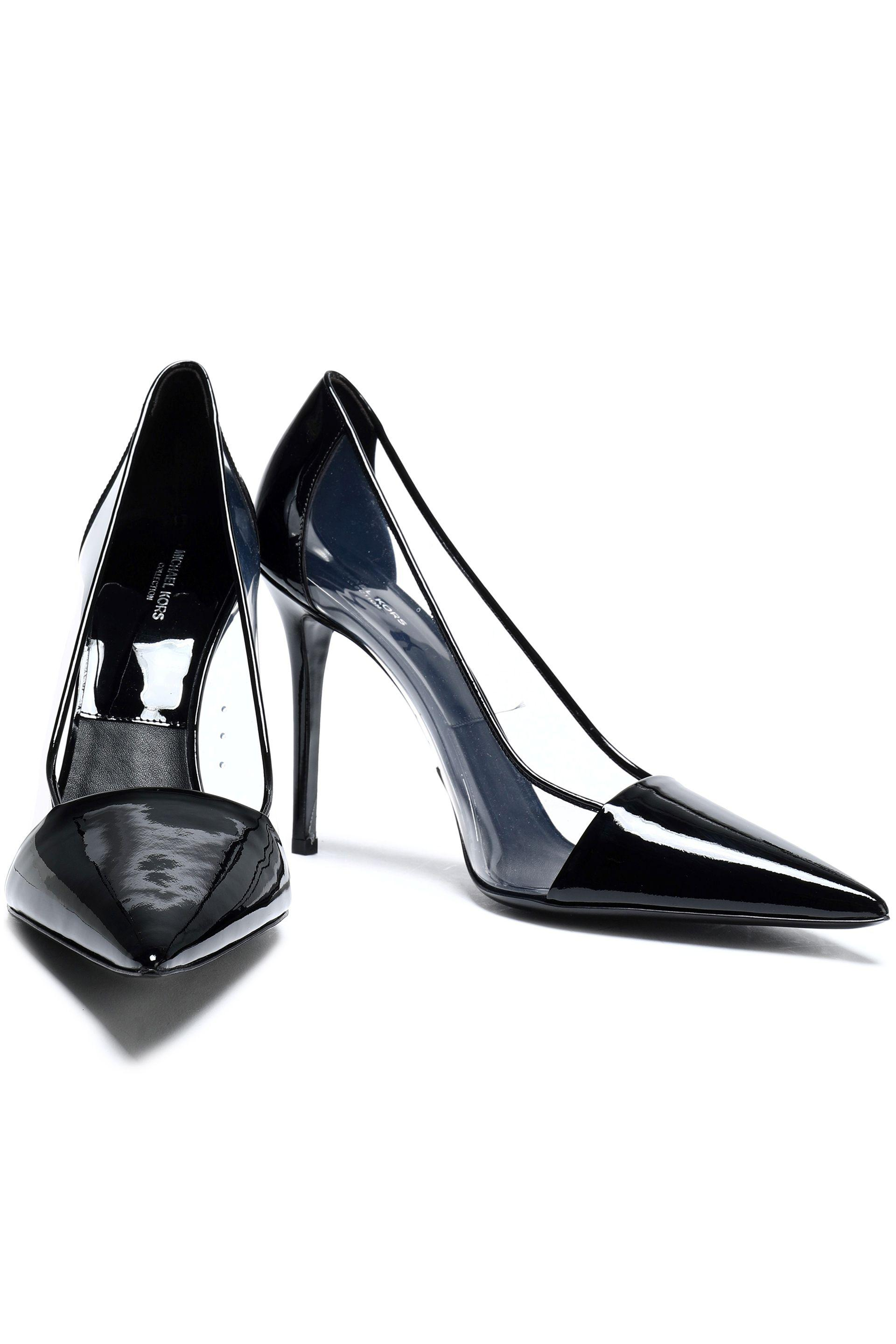 88a8bf10e31f Michael Kors Pvc-paneled Patent-leather Pumps in Black - Lyst