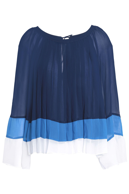 c8cbb3891d Joie. Women s Blue Woman Anahira Pleated Color-block Georgette Blouse Navy