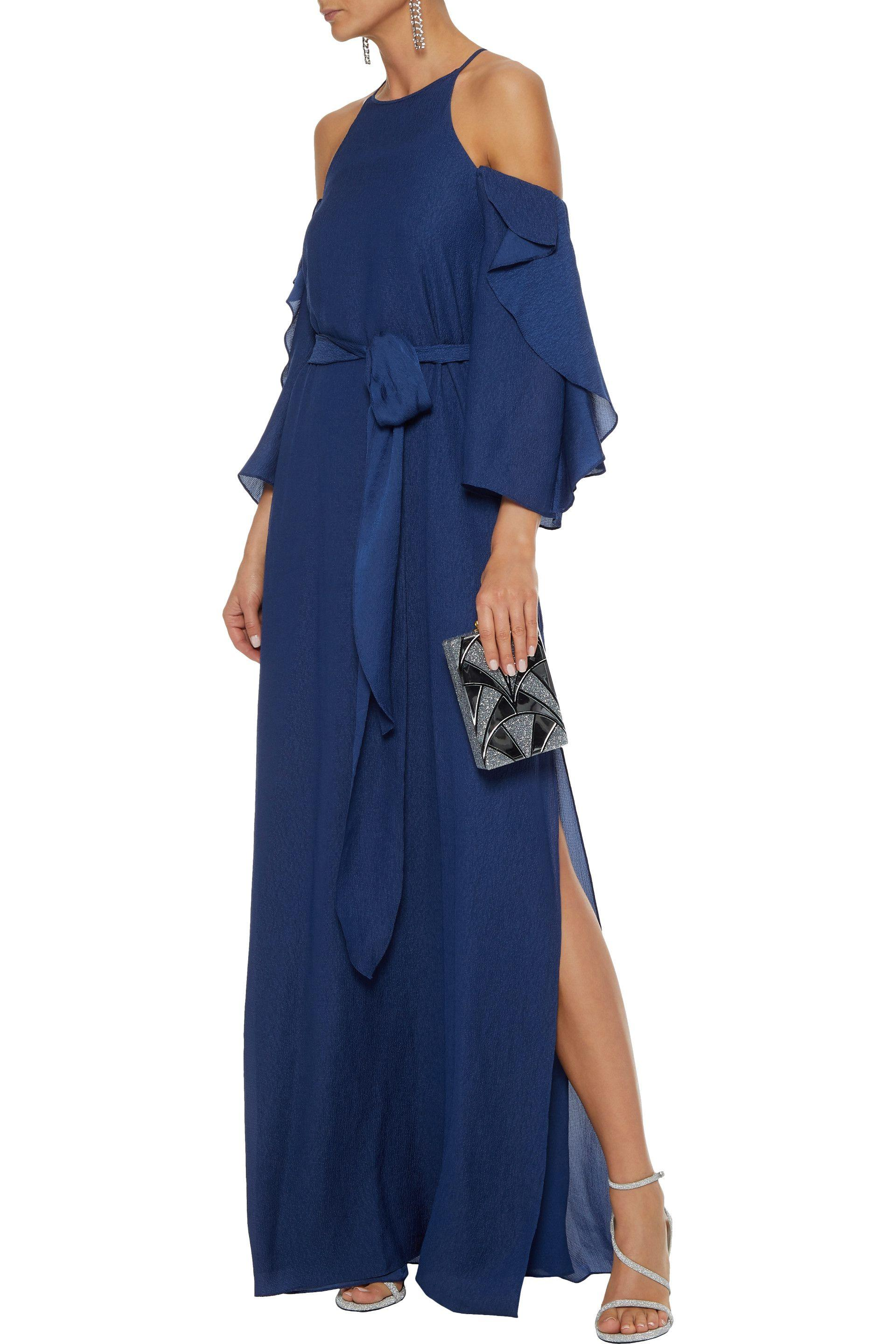 5499f4ad7e2a Halston Heritage - Blue Woman Cold-shoulder Belted Seersucker Gown Navy -  Lyst. View fullscreen