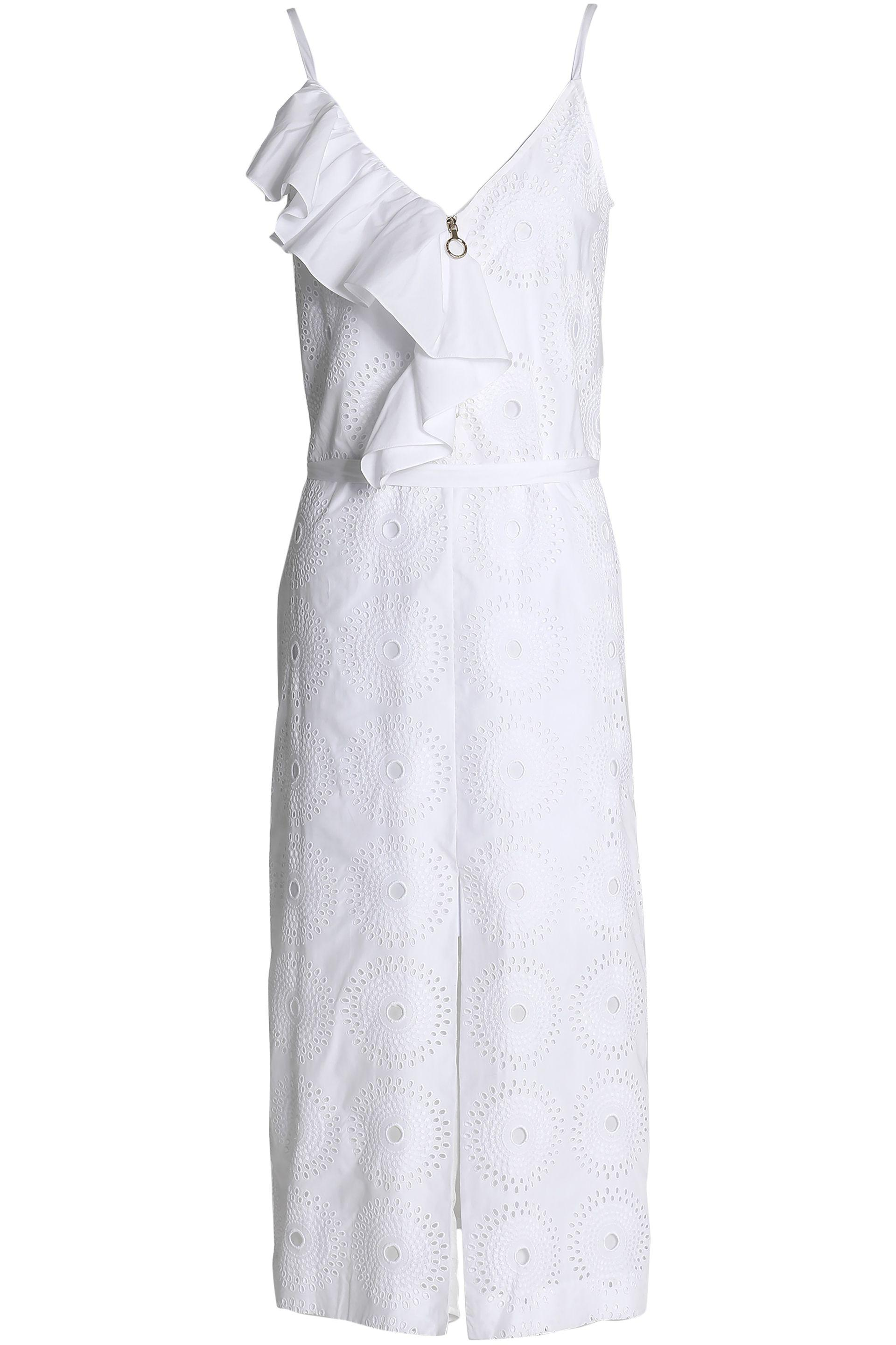 Nina Ricci. Women's White Ruffled Broderie Anglaise Midi Dress