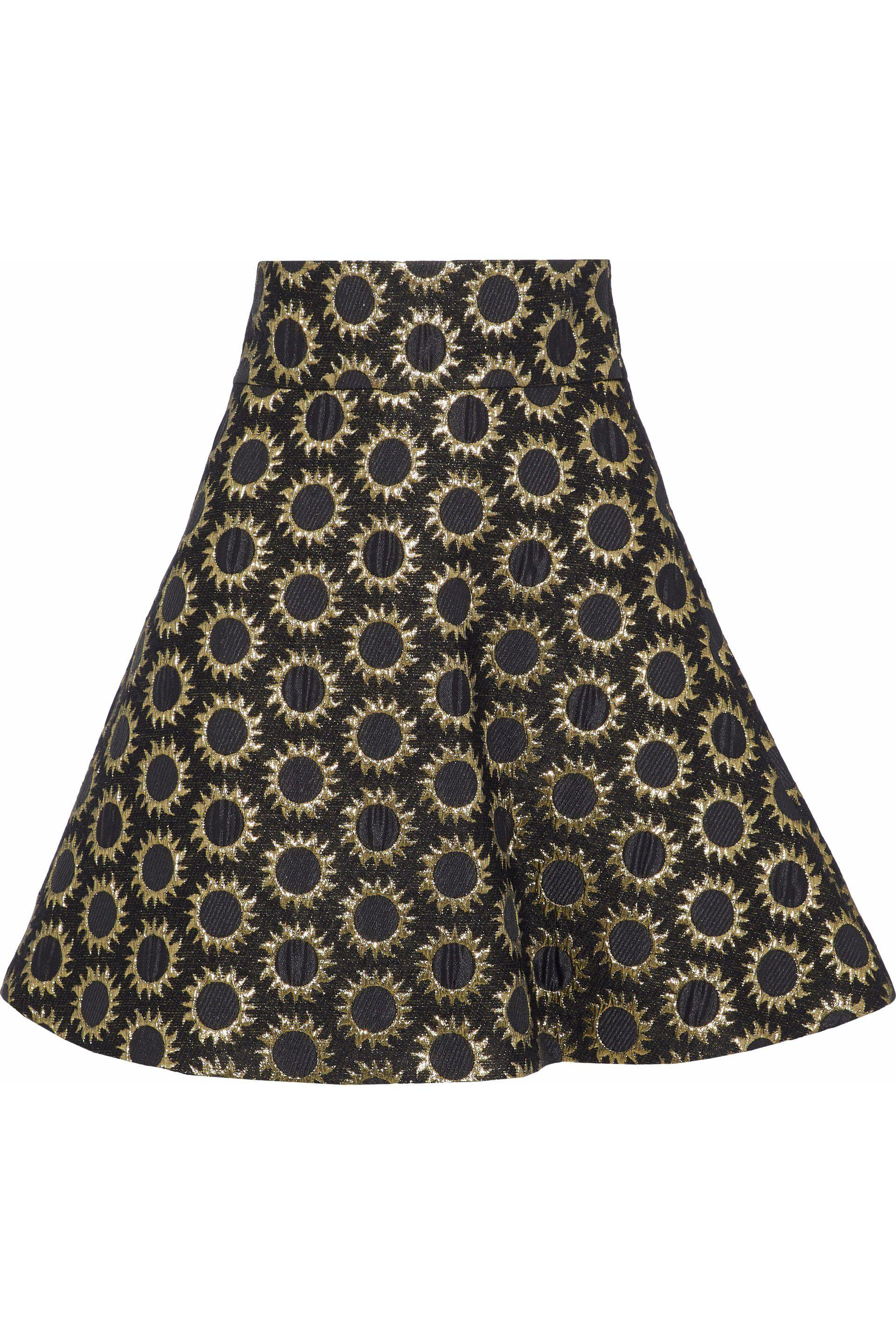 8458ce0782 Lyst - RED Valentino Woman Flared Metallic Jacquard Mini Skirt Black ...