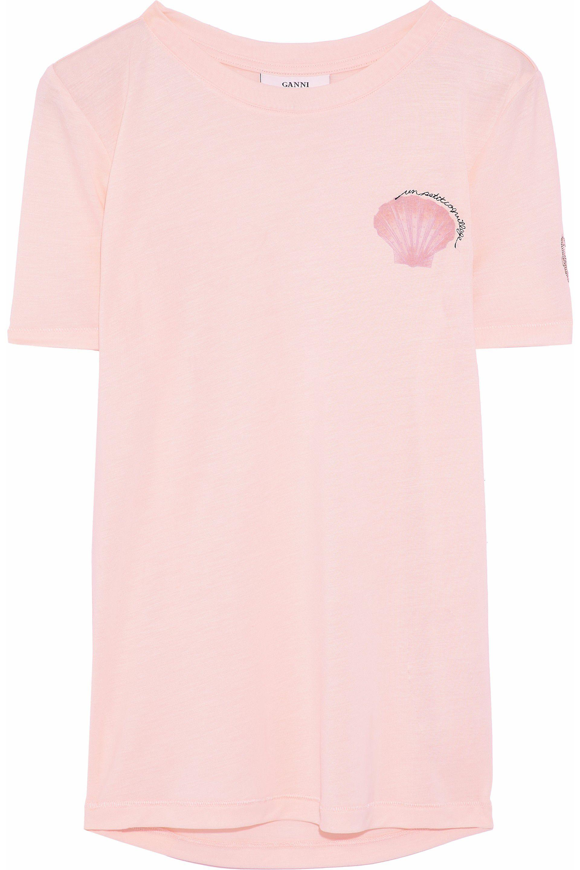 9d34484005b2 Ganni - Woman Embroidered Printed Jersey T-shirt Pastel Pink - Lyst. View  fullscreen