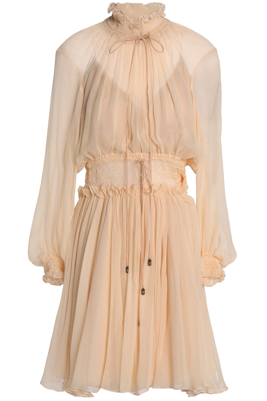 5bccf415e50 Lyst - Chloé Chloé Woman Shirred Silk-gauze Dress Peach in Natural