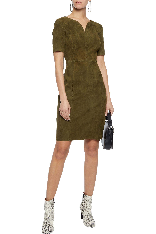 ab6c842c7532 Elie Tahari - Woman Emily Stretch Jersey-paneled Suede Dress Army Green -  Lyst. View fullscreen