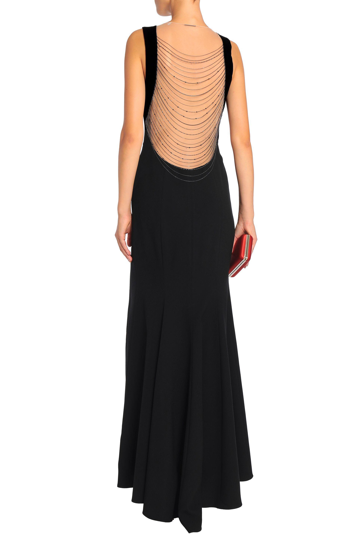 2de3c202c1164 Elie Tahari Woman Embellished Tulle-paneled Crepe Gown Black in ...