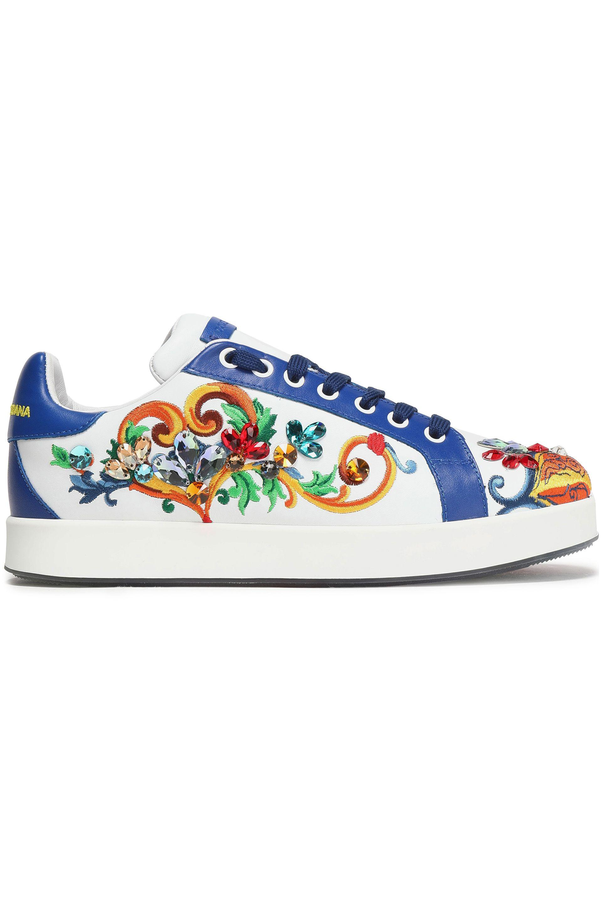 30d9d6b6cc Dolce & Gabbana. Women's White Woman Portofino Crystal-embellished  Embroidered Leather Sneakers Blue