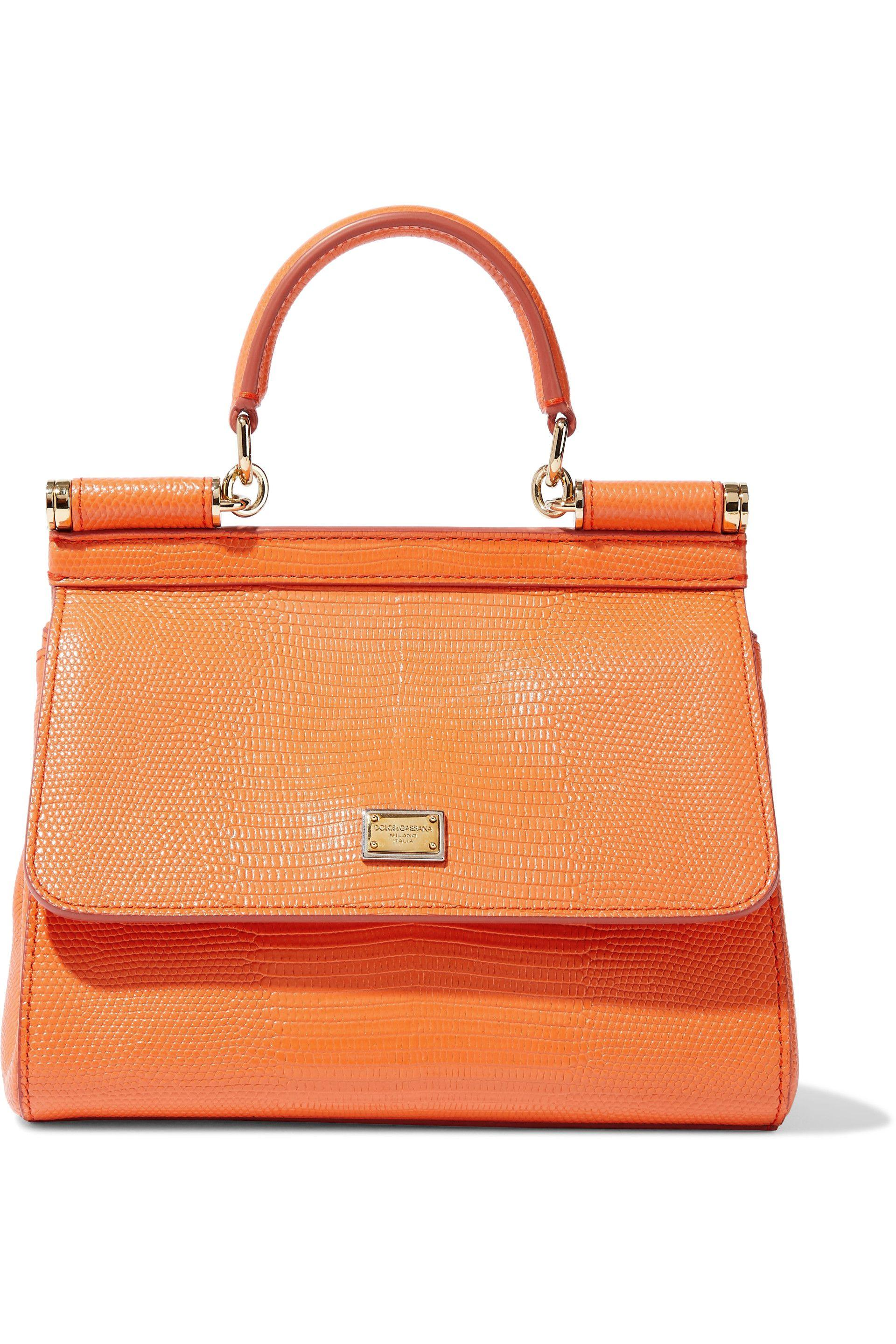 ee6d1bc3fdef Dolce   Gabbana. Women s Woman Sicily Lizard-effect Leather Shoulder Bag  Orange