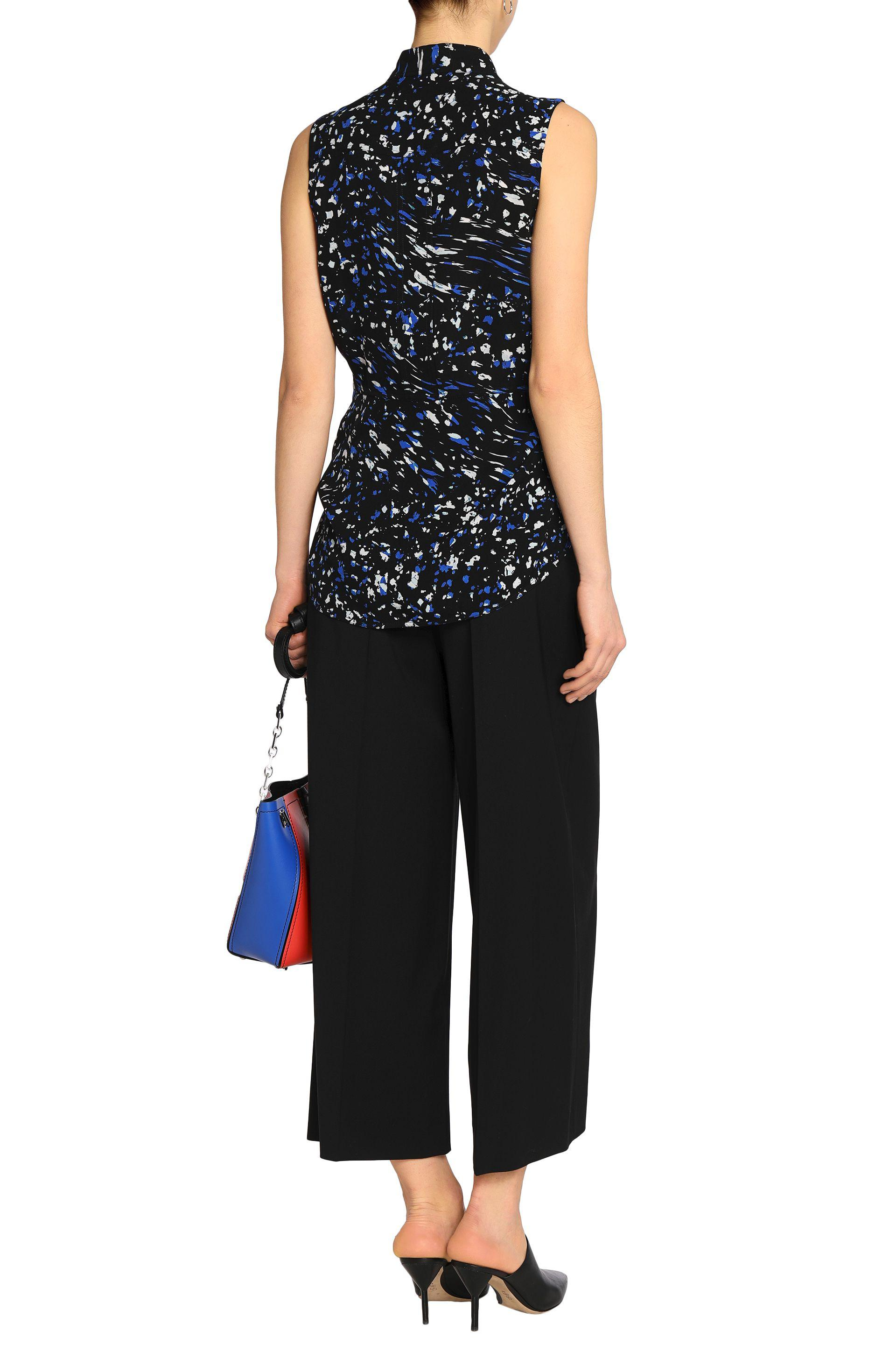 Cheap Usa Stockist Proenza Schouler Woman Pussy-bow Printed Silk Wrap Top Black Size 2 Proenza Schouler For Sale Very Cheap 2018 New For Sale Limit Discount OPL3C
