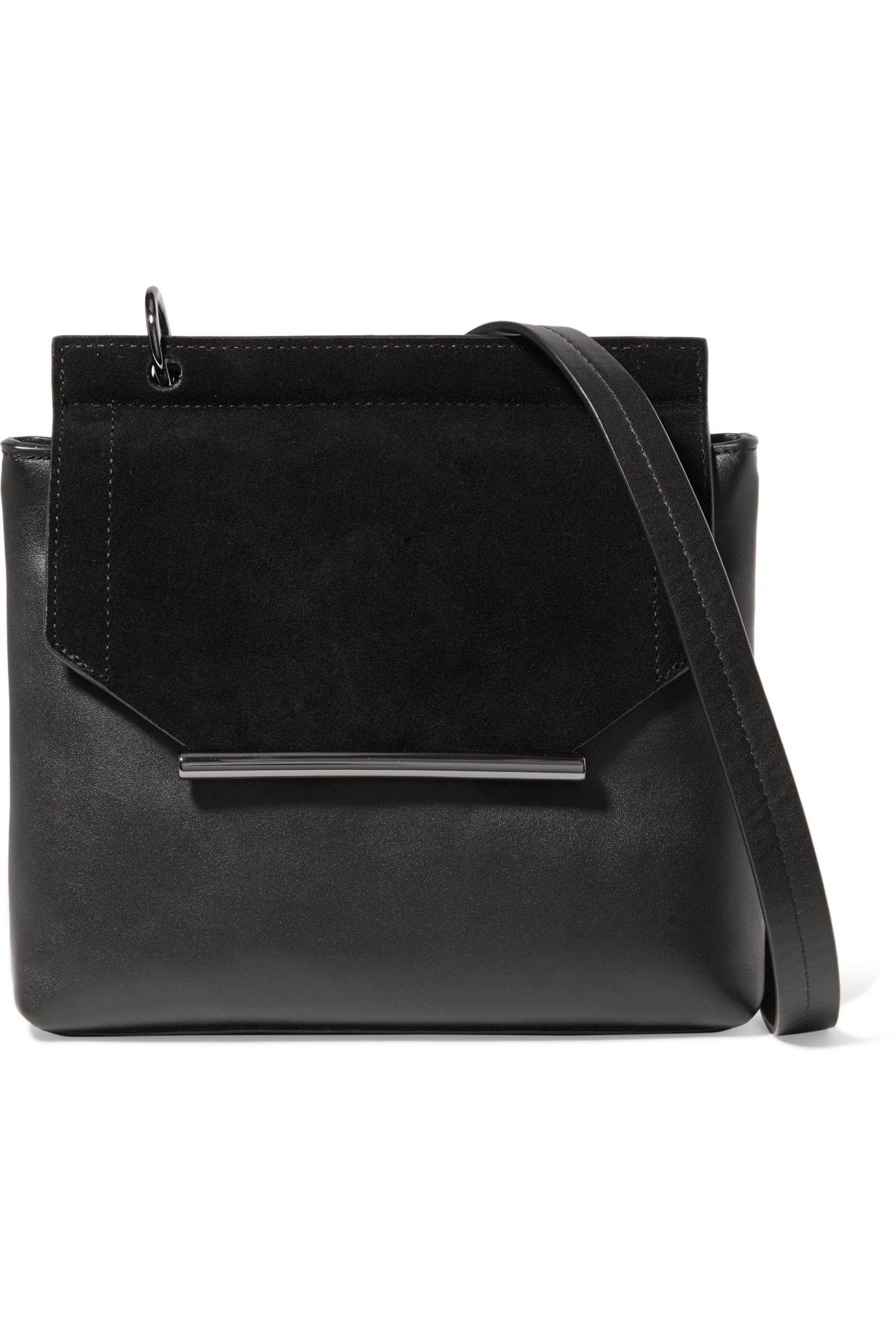 3769e41b37c7 Lyst - Halston Suede And Leather Shoulder Bag in Black