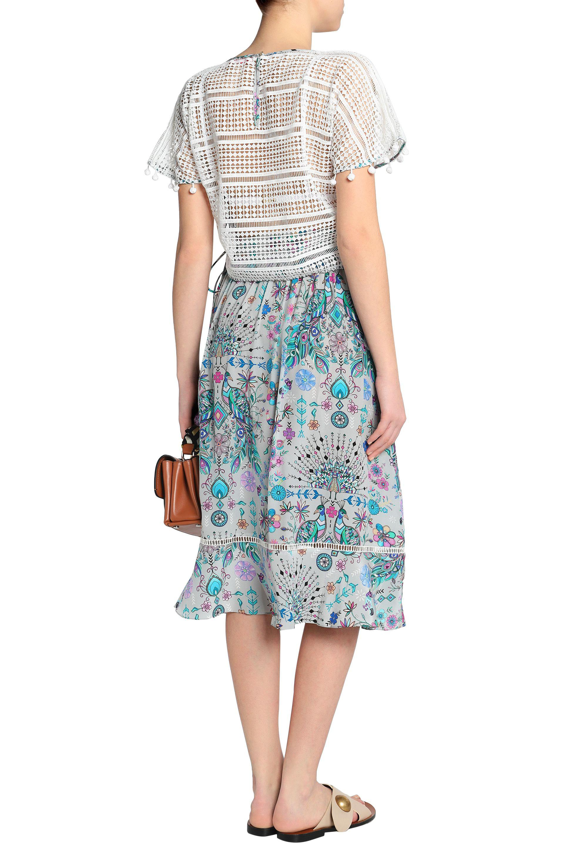 Matthew Williamson Woman Lace-up Pompom-trimmed Guipure Lace Top Off-white Size 10 Matthew Williamson Sale Visit New Outlet Explore Manchester Great Sale Extremely Clearance With Credit Card TbVaRjYMk