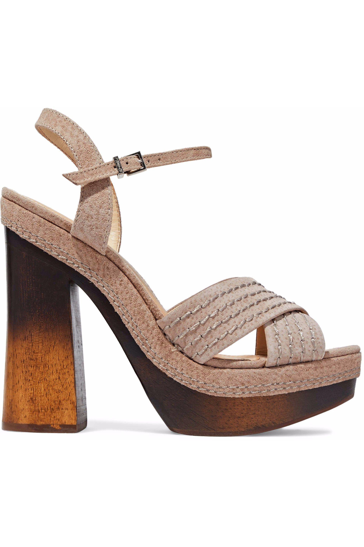 4cf1f2001b7 Lyst - Schutz Woman Suede Sandals Mushroom - Save 22%