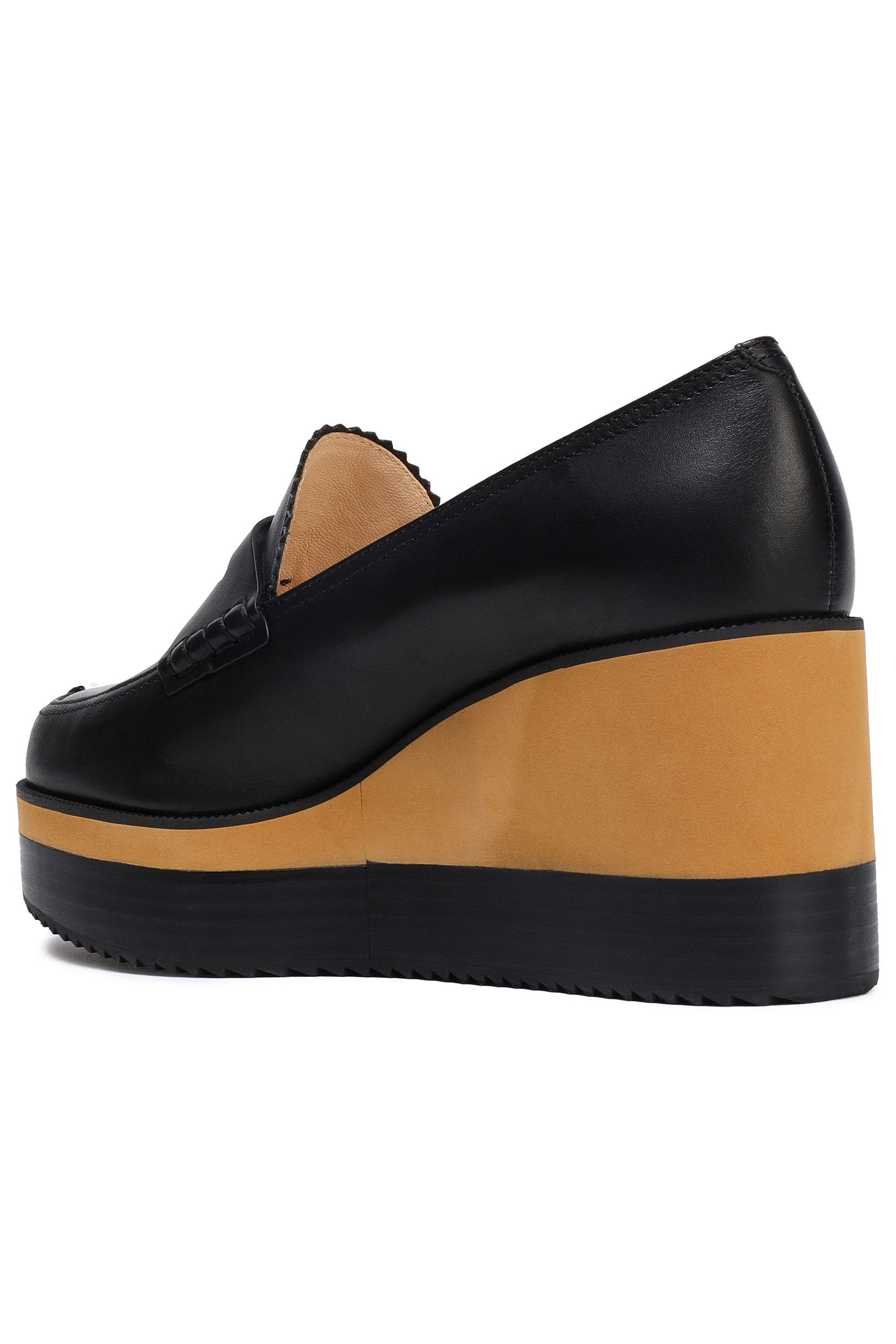 cd4c9d22c2b Jil Sander Navy - Woman Leather Wedge Loafers Black - Lyst. View fullscreen