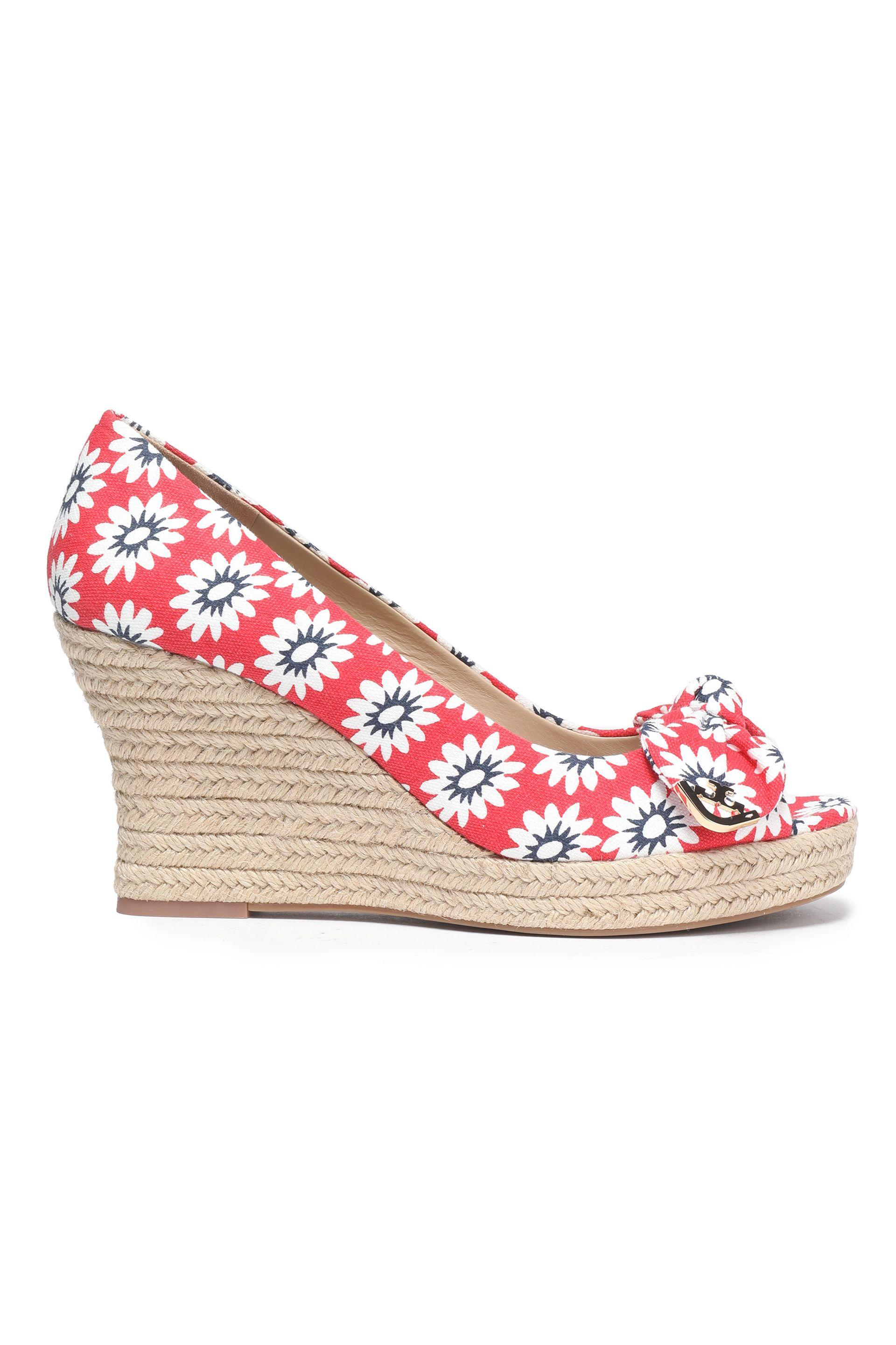 919e02a18f863d Tory Burch. Women s Woman Bow-embellished Printed Wedge Espadrilles Red