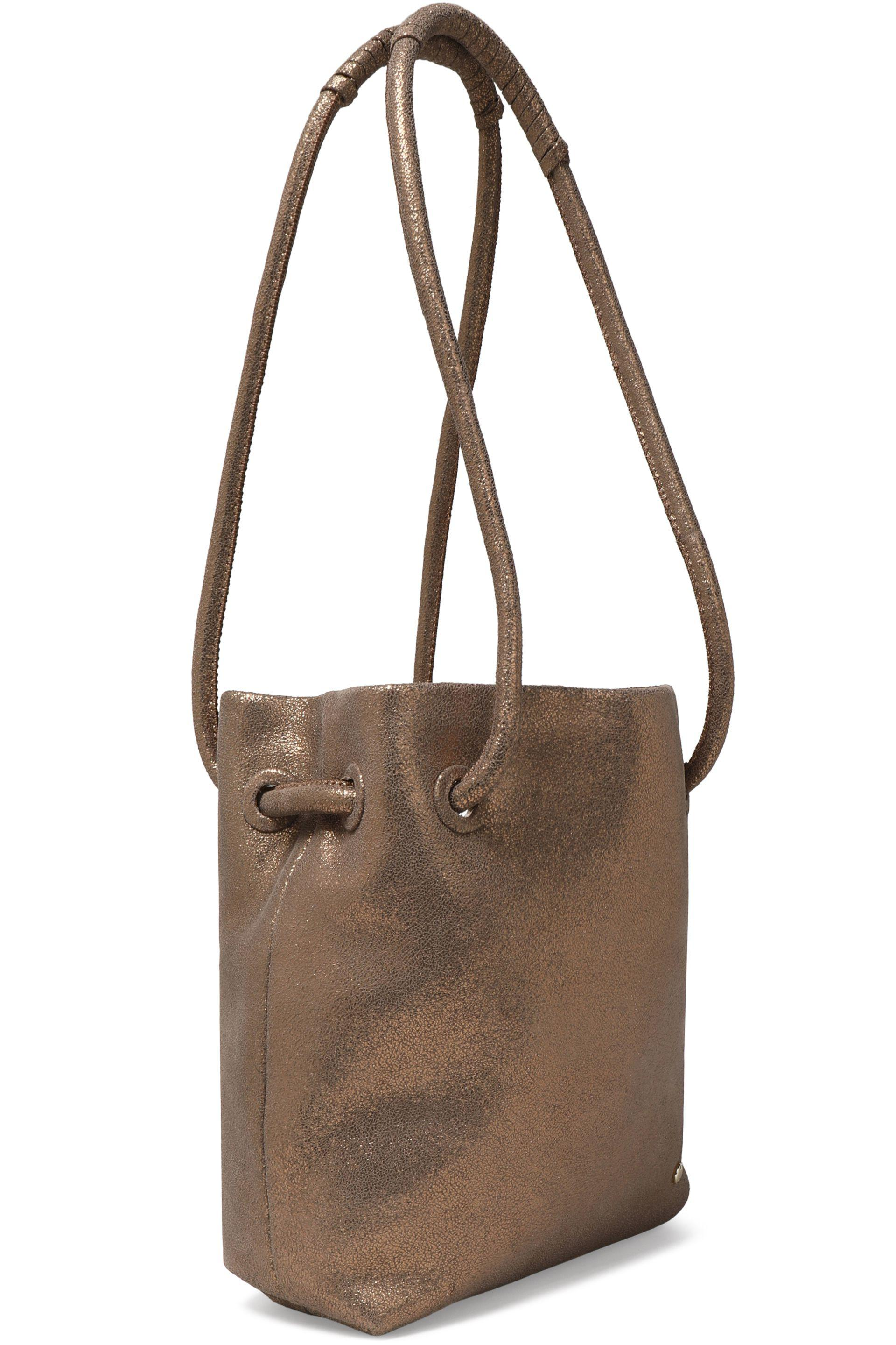 7a747ddd475 Halston Heritage Metallic Cracked-leather Bucket Bag - Lyst