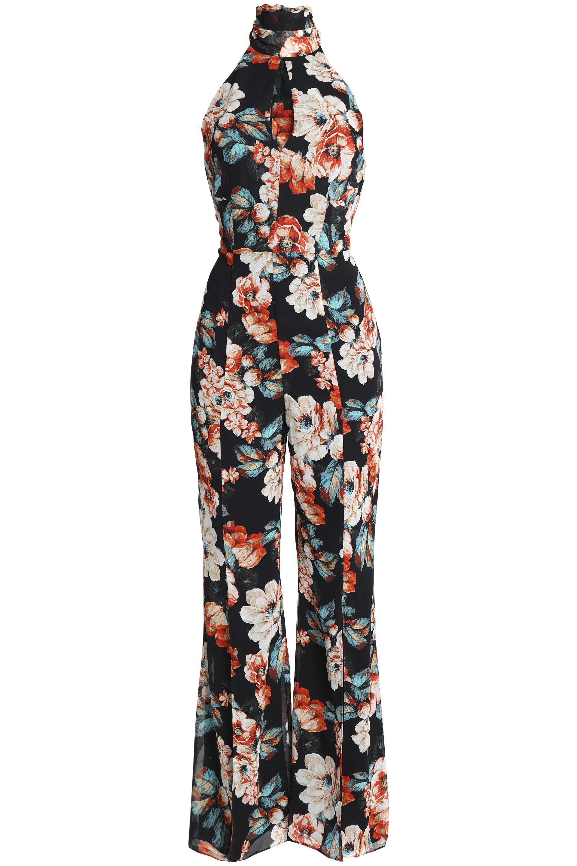 5cc6237e1fa Lyst - Nicholas Open-back Floral-print Silk Crepe De Chine Jumpsuit