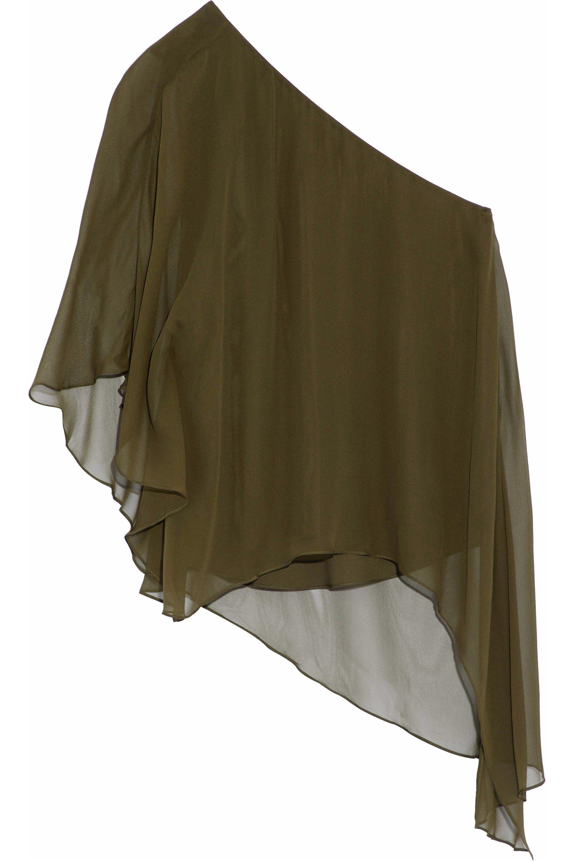 Haute Hippie Woman One-shoulder Draped Silk-georgette Blouse Army Green Size XS Haute Hippie We4w5F