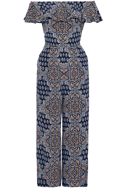 206816dfa16 L Agence. Women s Blue Off-the-shoulder Floral-print Silk-crepe De Chine  Jumpsuit