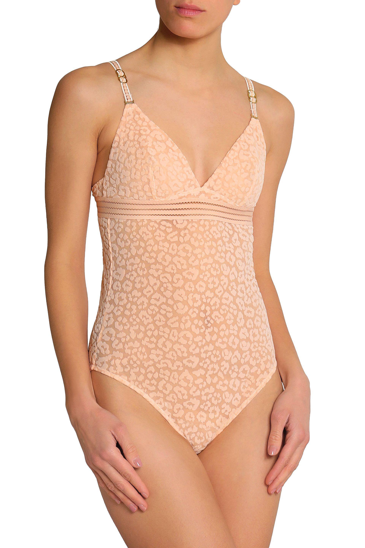 Free Shipping Sale Stella Mccartney Woman Open Knit-trimmed Flocked Tulle Bodysuit Peach Size L Stella McCartney Sale Fashion Style DFuzhP