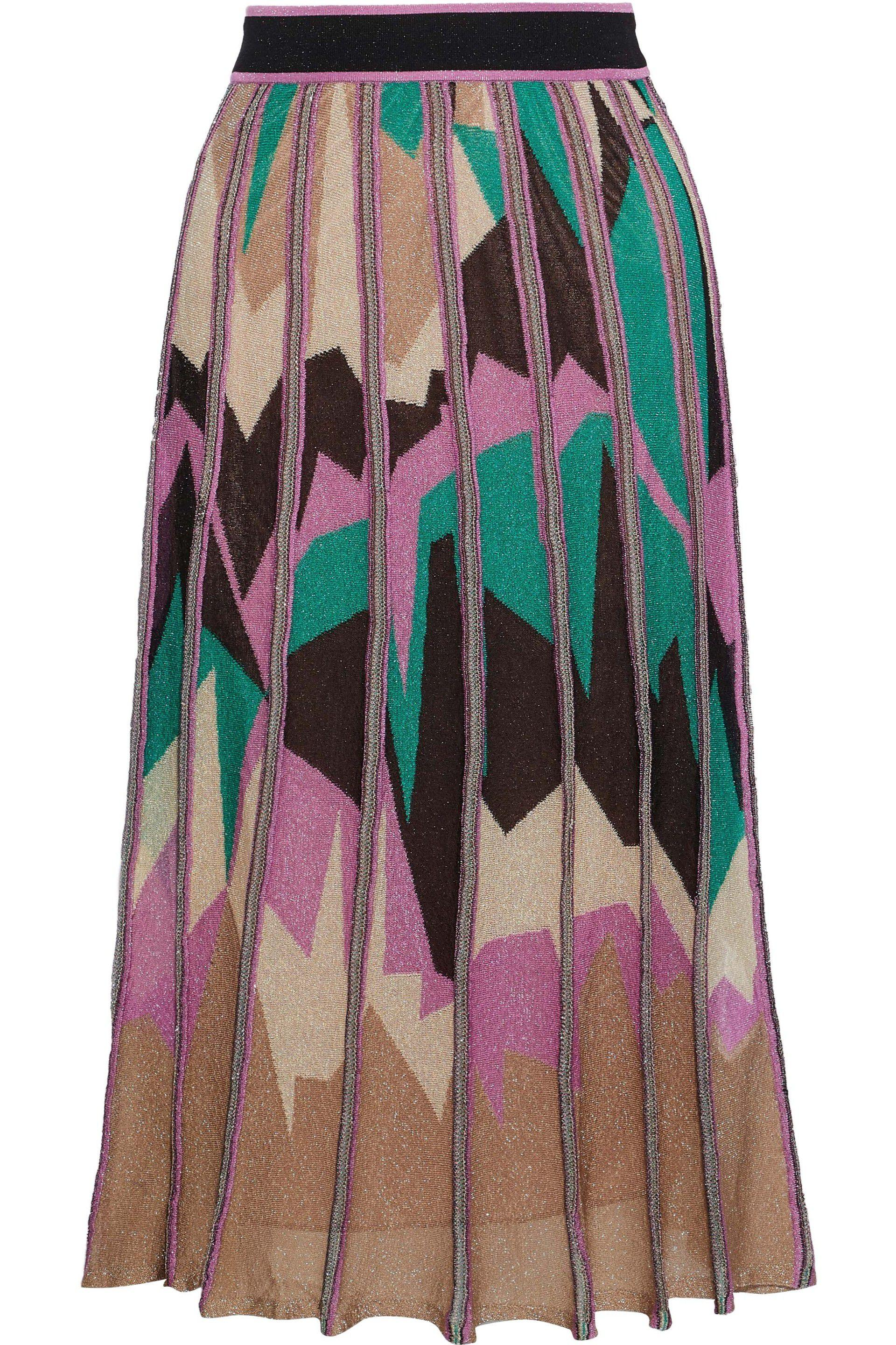 M Missoni. Women s Pink Woman Metallic Intarsia-knit Midi Skirt Multicolor 1f5df1f09