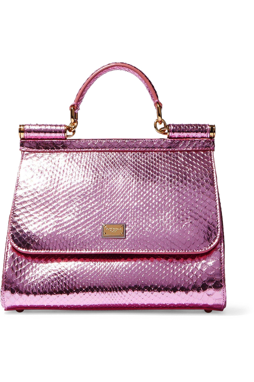 01089f06de3f Dolce   Gabbana. Women s Purple Woman Sicily Metallic Python Shoulder Bag  Bubblegum