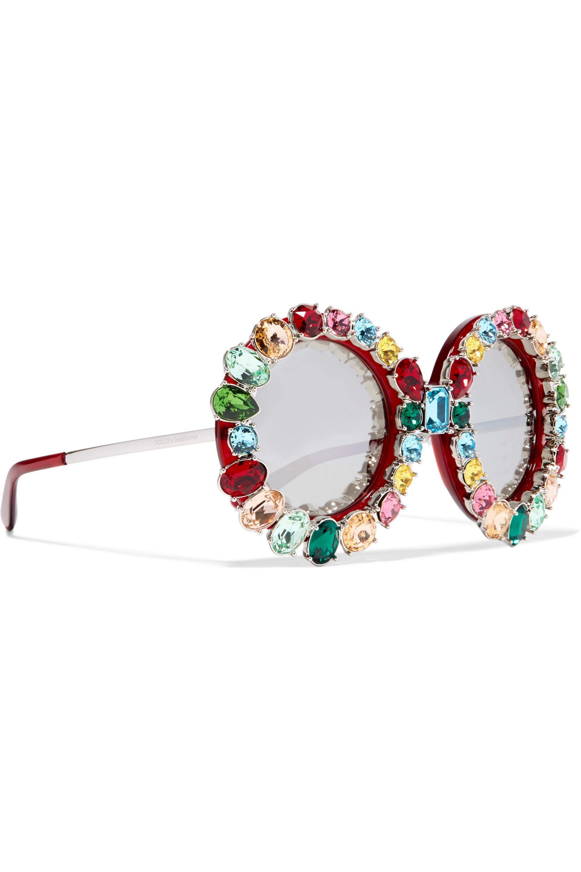 7745c966b96 Dolce   Gabbana Crystal-embellished Round-frame Acetate And Metal ...
