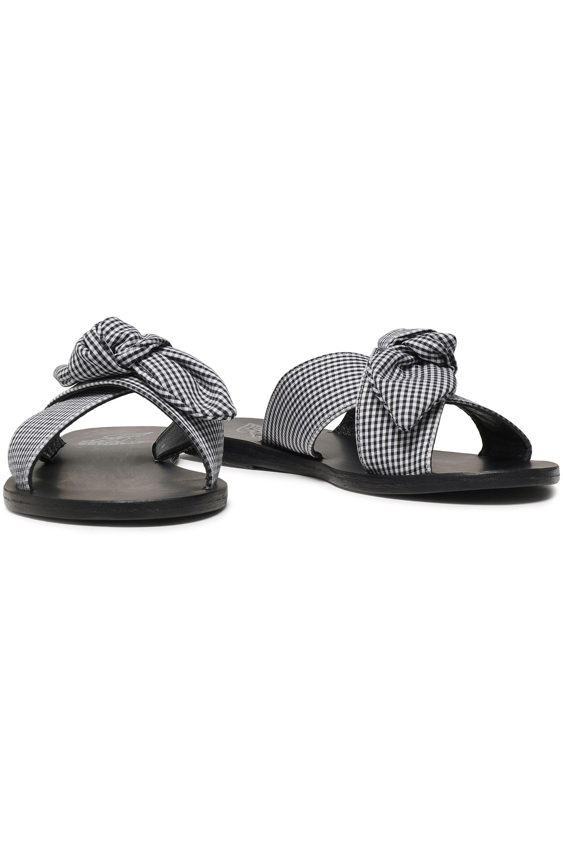 249009c16e931 Ancient Greek Sandals - Woman Thais Bow-embellished Gingham Woven Slides  Black - Lyst. View fullscreen