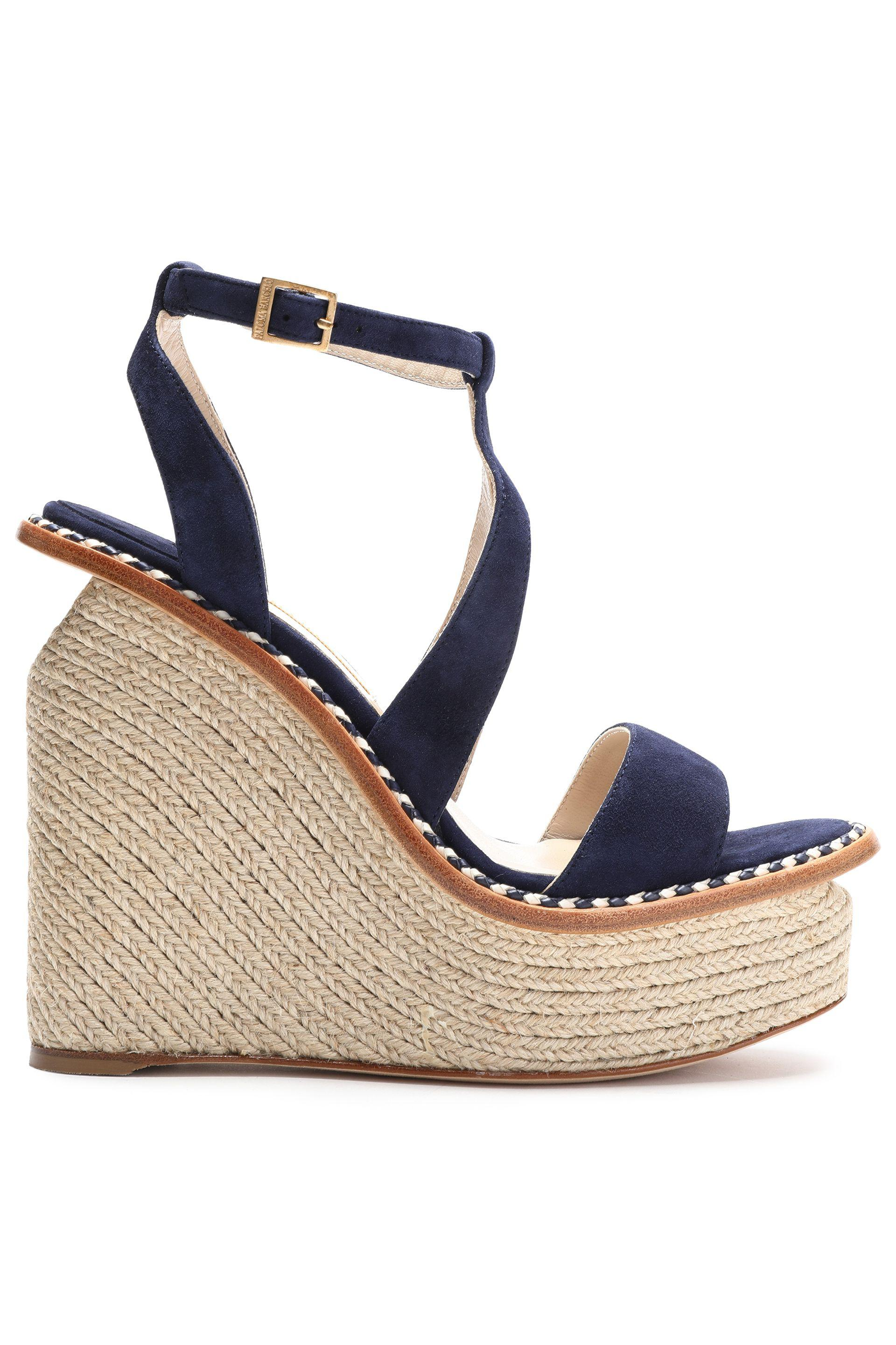 b5a35a2e462 Paloma Barceló Braided Leather-trimmed Suede Platform Wedge Sandals ...