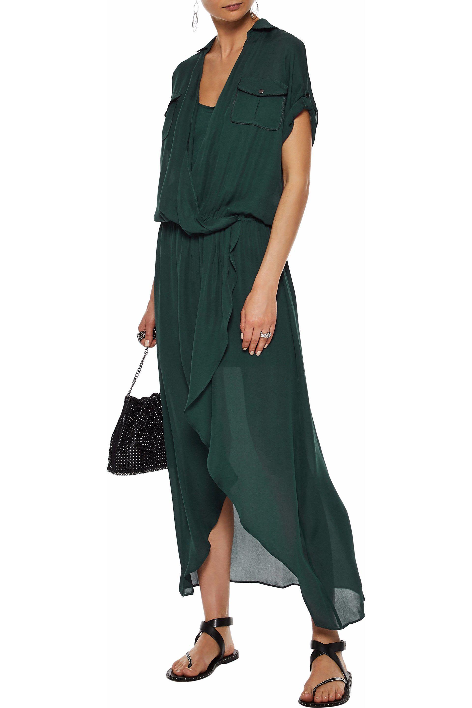 bfa14b7195d79e Lyst - Haute Hippie Woman Wrap-effect Silk Crepe De Chine Maxi Dress ...